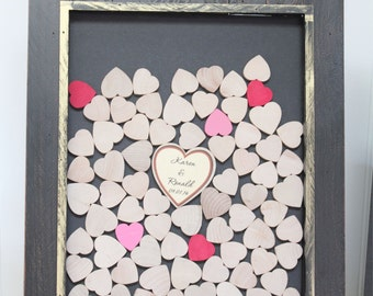 wedding guest book drop box  Guestbook - Alternate Drop Top wedding guest book - Heart Guestbook - Ornate Wood Frame  with hearts