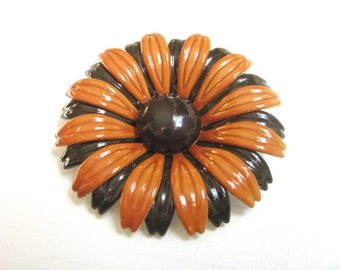 Fall fabulous Orange & Brown flower brooch pin