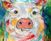 Original oil painting The Pig abstract palette knife impressionism on canvas fine art by Karen Tarlton