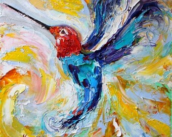 Hummingbird Archival canvas giclee print made from image of original palette knife oil painting by Karen Tarlton