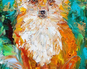Original oil painting Fox portrait palette knife impressionism on canvas fine art by Karen Tarlton