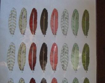 """Nature walk, Bird feather sticker sheet 24 feathers, 1.5"""" tall"""
