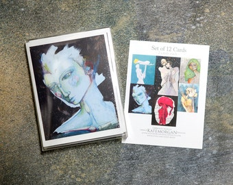 Set of 12 Blank Note Cards, Mixed Media Portraits
