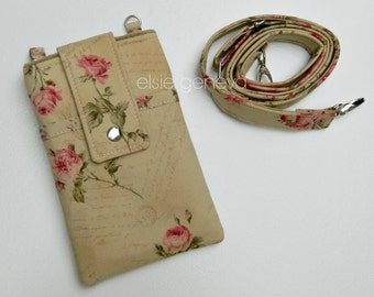 Vintage Rose Phone Case Pink & Natural Tan with  Wristlet and or Interchangeable Shoulder Strap iPhone 6 Plus Samsung Note 4