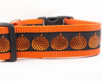 Halloween Dog Collar - Pumpkin Dog Collar- 1.5 inch wide - buckle or martingale collar - Fall dog collar - Large dog collar - Pumpkin collar
