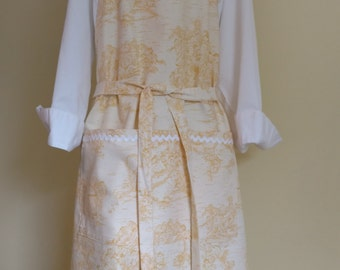 Apron, Gold Toile With Rick Rack Trim