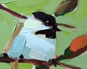 Chickadee no. 855 Original Bird Oil Painting by Angela Moulton 5 x 5 inch on Birch Plywood Panel pre-order