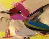 Hummingbird no. 155 Original Bird Oil Painting by Angela Moulton 4 x 4 inch on Birch Plywood Panel pre-order