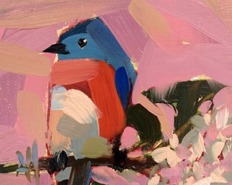 Bluebird and Lilac Branch original bird oil painting by Angela Moulton 6 x 6 inch on birch plywood panel pre-order