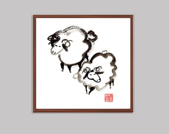 Sheep Chinese New Year of the Sheep, Ram, Goat Chinese zodiac, Sheng Xiao, Original Sumi ink Painting, zen decor, japan art, childs room art