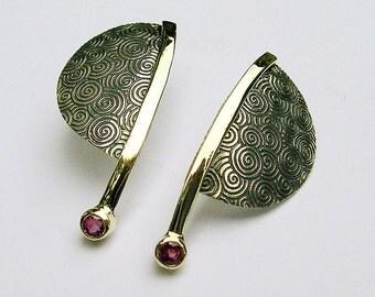 Ruby Earrings, Contemporary Ruby Earrings,14k Gold, Sterling Silver
