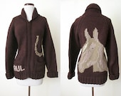 CLEARANCE Adorable 1950's Kanata Style Chunky Knit Zip Front Sweater w/ Horse Head &Horse Shoe Rockabilly Pinup Western Cowgirl Size-X-Large