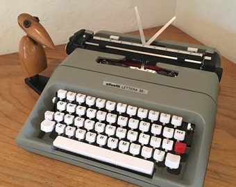 Vintage Olivetti Typewriter with Case Olivetti Lettera 35i Khaki Green Extra Ribbons ON SALE