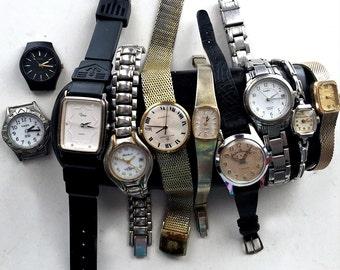 Vintage Watch Lot, Ten Vintage Watches for Parts, Destach Watch Lot, 10 Vintage Watches, Bulova Timex Bucherer Bemus Andre Bouchard Watches