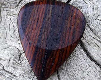 Wood Guitar Pick - Premium Quality - Handmade With Cocobolo Rosewood  - Actual Pick Shown - Artisan Guitar Pick