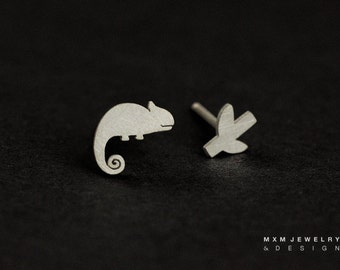 Sterling Silver Little Chameleon & Branch Stud Earrings
