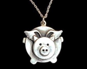 Sterling silver Flying pig necklace, cute flying pig pendant, when pigs fly, flying pig jewelry, whimsical jewelry, animal necklace