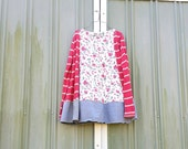 upcyled funky romantic floral tunic ladies women upcycled clothing Patchwork Dress Eco Dress / Artsy Dress by CreoleSha