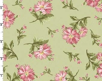 GRACEFUL MOMENTS Pink Carnations on Green Fabric - Maywood Studio Mas8322-G - 1 One Yard Cut Bty - Green Pink Floral Fabric