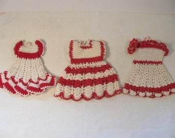 Vintage Set of 3 Hand Crochet Vintage Dress Potholders - Red and White