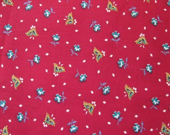 """Vintage Red Calico Small Print Cotton 44"""" by 1 Yard"""
