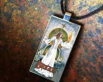 Goddess Brigid, Statement Pendant, Bezel Amulet by Mickie Mueller
