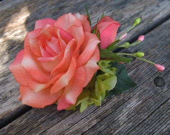 Coral Vermilion  Roses Hair Flower -  Hair clip - WEDDINGS -