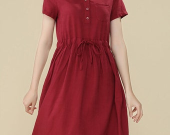 Simple wind-Red Short sleeve long dress(more colour and size choice)
