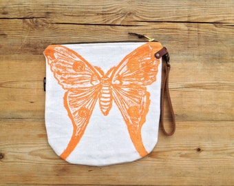 SALE Zip pouch cosmetic bag hand block printed linocut silkmoth