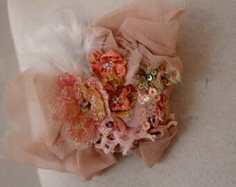dusty pinks silk georgette lace beaded brooch boho shabby chic brooch