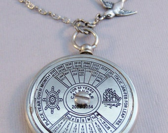 Nautical Calendar,Compass Necklace,Silver Compass,Bird Necklace,Bird Jewelry,Locket,Steampunk,Antique Locket,Compass,Calendar,valleygirldesi