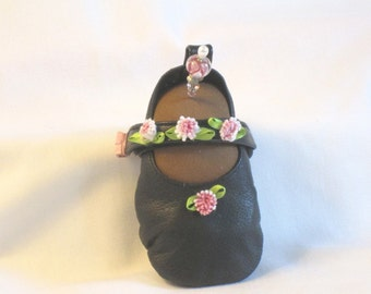 Handmade Pincushion - Soft Sculpture Foot in tiny Black Leather Mary Janes by Goody Goody - My Right Foot - Chocolate