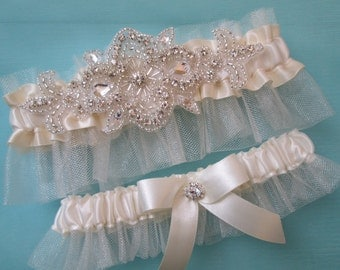 Ivory WEDDING Garter Set, Ivory- Cream Bridal Tulle Garters, Bling- Crystals- Rhinestones, Rustic- Vintage- Country Bride