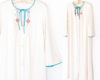 70s Bed Dress and Night Gown * 1970s Nightgown & Robe * Vintage Lingerie * Small