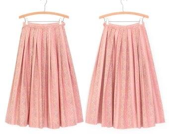 Vintage Dirndl Skirt * Pink Folk Skirt * Full Midi Skirt * 80s Skirt * Small