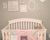 Personalized Girl Baby Blanket in Pink and Gray Minky and Buck Cotton with Option for Matching Sheet