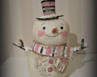 Snowman paper mache  folk art OOAK art doll papier mache