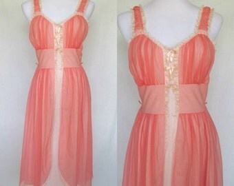 1950s Nightgown, Coral Nylon, Carillon, Divided Overskirt, Ribbon Details, Hollywood Glamour, Medium