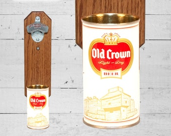 Old Crown Bottle Opener with Vintage Wall Mounted Beer Can Cap Catcher