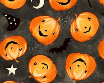 Halloween Tossed Pumpkins Fabric by David Textiles - you choose the cut