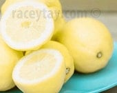 Lemons Print, Yellow Blue Kitchen Decor, Food Photography- Turquoise Yellow Art for Kitchen- Modern Still Life