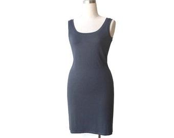 Everyday dress, Grey day dress, Tank dress, Handmade dress, Elegant simple dress, Sleeveless womens dress, Knee length dress, Midi dress