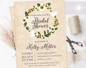 Rustic Bridal Shower Invite, Bridal Shower, Printable Invite, Birthday Invite, Floral Wreath Invitation, Rustic Wedding,  jadorepaperie