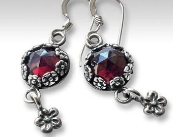 Gypsy earrings, silver floral earrings, hippie earrings, nature earrings, unique earrings for her, garnet earrings, casual - Juliette E8012