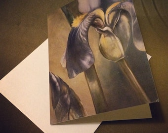 Set of 2 blank greeting cards with envelopes: iris and bumblebee art