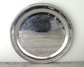 Vintage Large Round Silver Plate Serving Tray International Silver Co