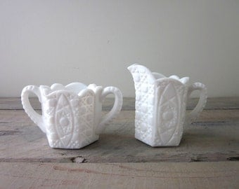 Milk Glass Creamer and Sugar Set