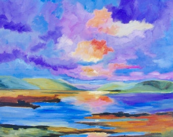 Landscape Modern Impressionist Original Oil Painting of Sunset Over the Water and Marsh by Rebecca Croft