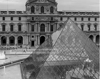 Louvre Pyramid black and white photograph