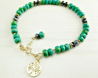 Gold Turquoise Bracelet Green Turquoise Hematite Bracelet Gold Filled Turquoise Beaded Bracelet Layering Tree of Life Charm Bracelet